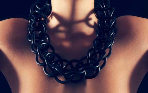 svart tight halsband