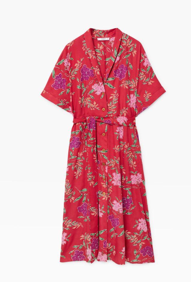 588c14edc771 Röd och sommarblommig klänning med band i midjan från Mango.
