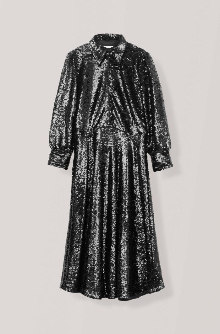 7c6e4f2d3243 Svart skjortklänning med paljetter med lång ärm från Ganni