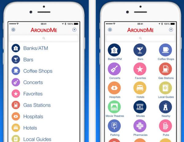 Med appen AroundMe kan du få hjälp att hitta närmaste restaurang, bar och sjukhus.