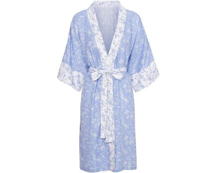 Blå morgonrock med vita detaljer