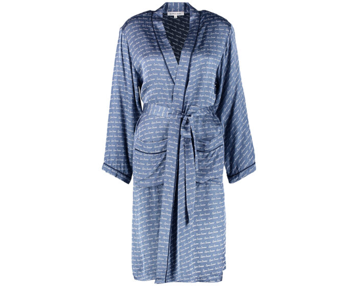 Blå morgonrock i satin
