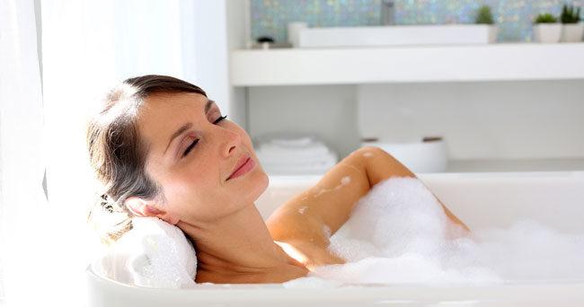 bada när man är förkyld