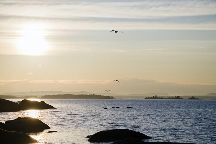 Solndegång vid havet