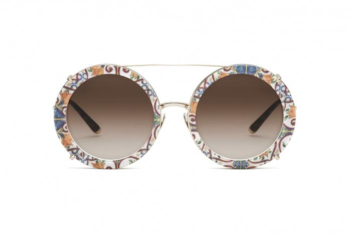 Mönstrade och runda solgalsögon från Dolce&Gabbana