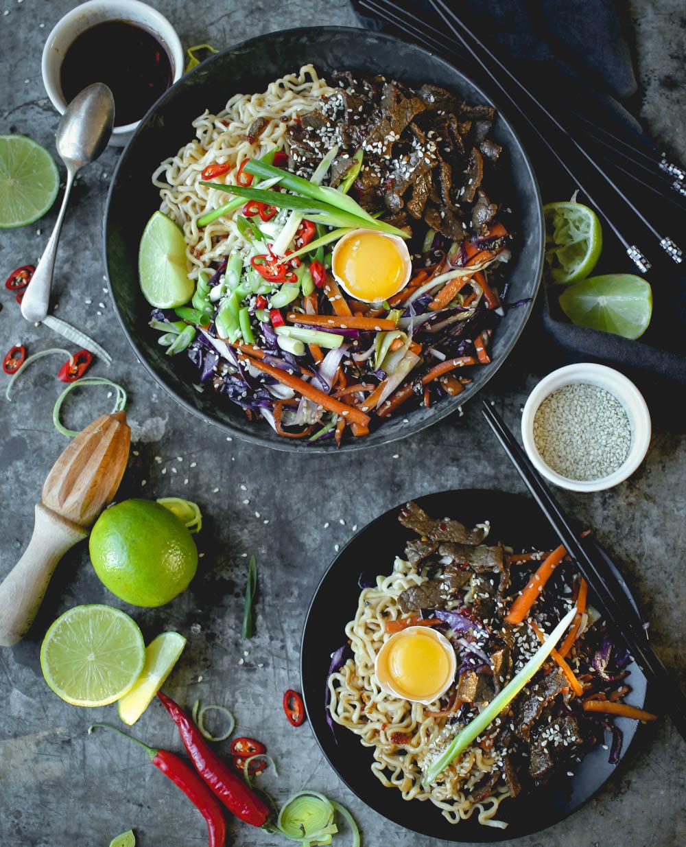 lövbiff wok med nudlar
